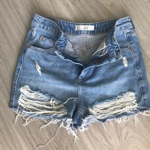 Topshop Moto Mom cutoff Jean shorts distressed